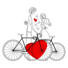 Couple Of Lovers With Bicycles.