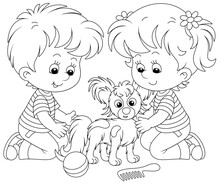 Little Children Brushing Their Cheerful Small Papillon Puppy For A Walk, Black And White Outline Vector Cartoon Illustration For A Coloring Book Page