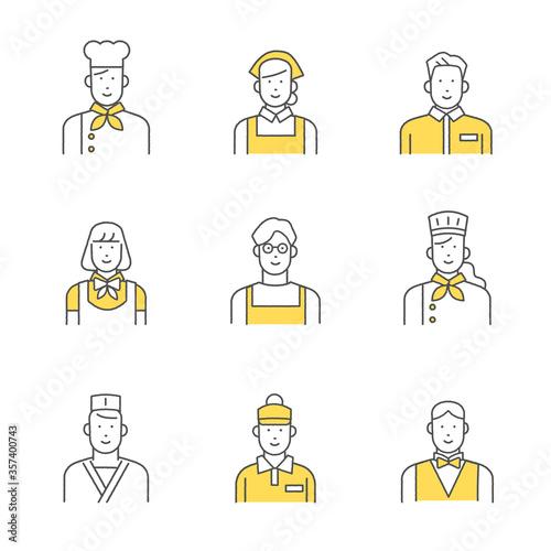 飲食業界で働く人たち イラスト素材セット Fototapet