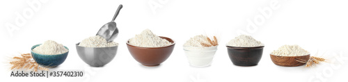 Bowls with flour on white background Canvas Print