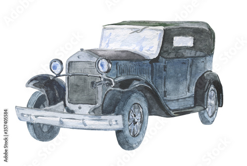 Watercolor illustration of a classic convertible car isolated on a white background. Ideas for printing on T-shirts, on postcards, on magnets, ideas for forming children's and souvenir products. © Andrei