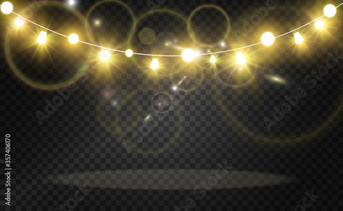 Obraz Christmas bright, beautiful lights, design elements. Glowing lights for design of Xmas greeting cards. Garlands, light Christmas decorations. - fototapety do salonu