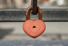 Closed Lock On A Metal Fence. ...
