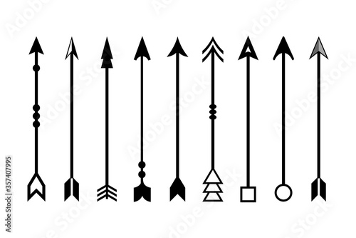 Photo Arrow Archer icon set. Vector Collection