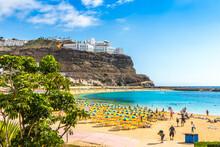Picturesque Amadores Beach (Spanish: Playa Del Amadores) Near Famous Holiday Resort Puerto Rico De Gran Canaria On Gran Canaria Island, Spain