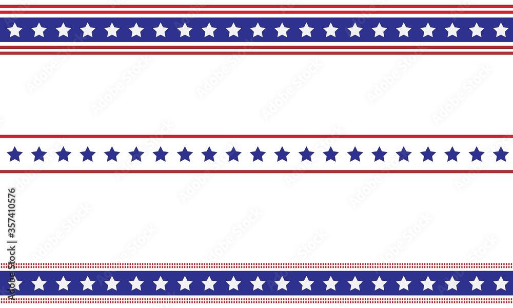 Fototapeta Patriotic border divider american usa flag.