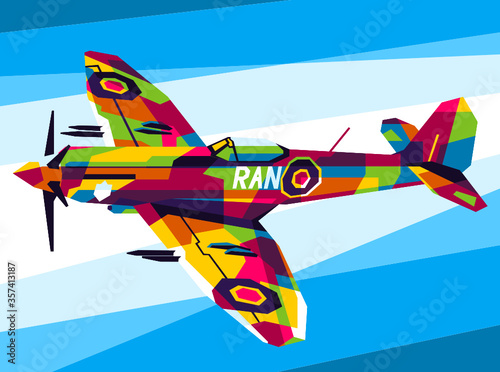 Fotomural Supermarine Spitfire Aircraft Pop Art