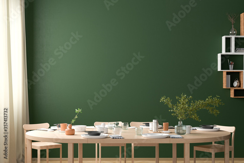 Fototapeta Blank green wall mock up in the dinning room with served table. 3d render obraz