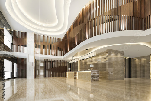 Cuadros en Lienzo 3d rendering grand luxury hotel reception hall entrance and lounge restaurant wi