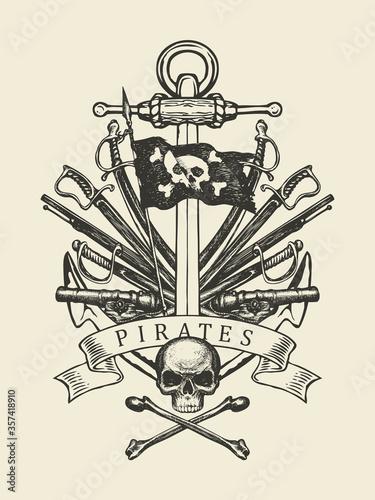Hand-drawn skull, crossbones, anchor, sabers, swords, ship guns and pirate flag Canvas Print