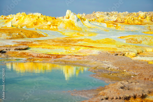 Colorful landscape of green acid ponds in Crater of Dallol Volcano the hottest p Canvas Print