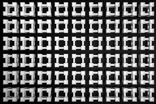3d Illustration Classic View Of A Castle Tower On A Black Isolated Background, Top View. Geometric Pattern Of Beliz Squares. Simple Geometric Shapes