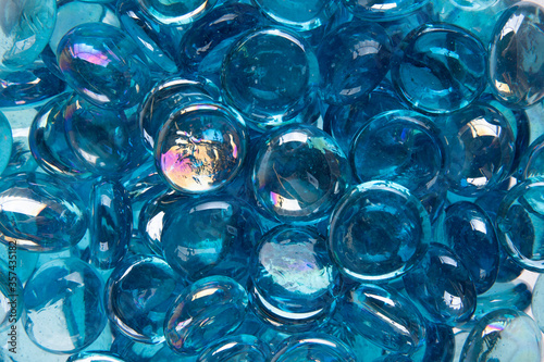 blue glass beads abstract background