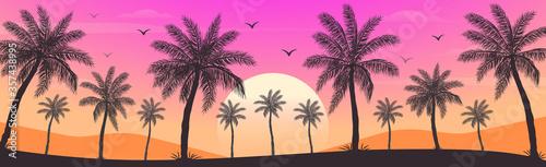 Obraz Sunset on the beach with palm trees - fototapety do salonu