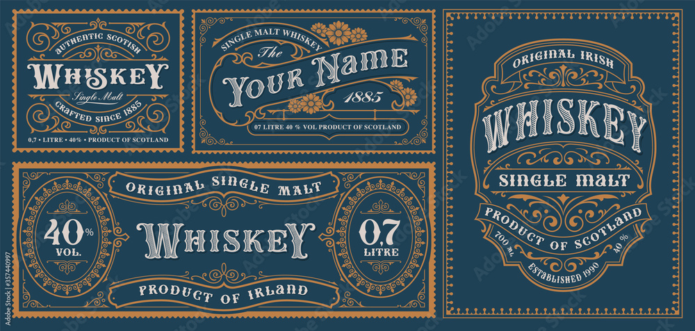 Fototapeta A set of vintage alcohol label templates for packaging and many other uses.