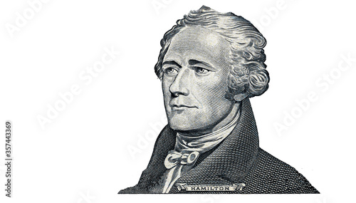 Photo Alexander Hamilton cut on 10 dollar banknote isolated on white background
