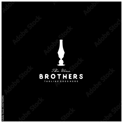 Photo negative space logo wine and the face of a man in a wine bottle
