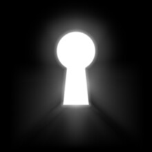 Keyhole Illuminated Rays Of Light Isolated On Black Background. White Keyhole Symbol Of Hope Or Success. Vector