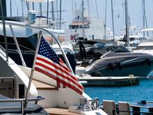 American National Flag At Marina