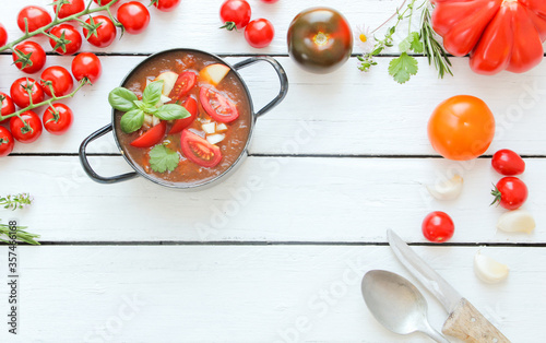Foto Tomatensuppe Tisch Suppe Tomate Tomaten Brett Overhead Top View