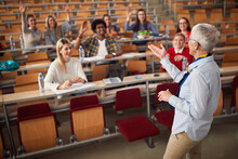 Female Elderly Professor Answering Student's Questions