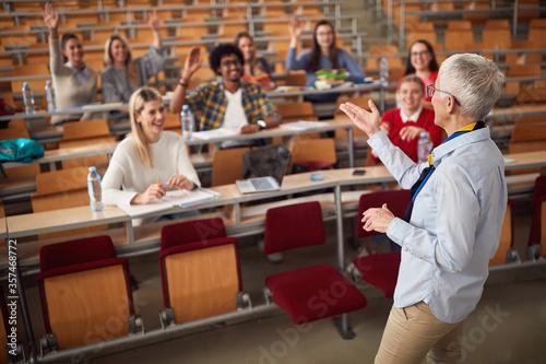 Stampa su Tela Female elderly professor answering student's questions