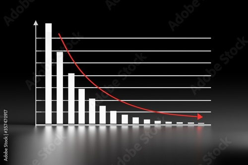 Photo Graph chart with exponential decay bars and arrow down on black shiny reflective