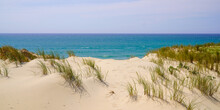 Sandy Natural Beach With Dunes Of Le Porge Near Lacanau In France