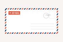 Air Mail Letter Vector. Post Stamp. Airmail Frame Postcard. Blue Red Stripes Pattern. Mockup Template Envelope. On White Background. Retro Vintage Blank Message. World International Label