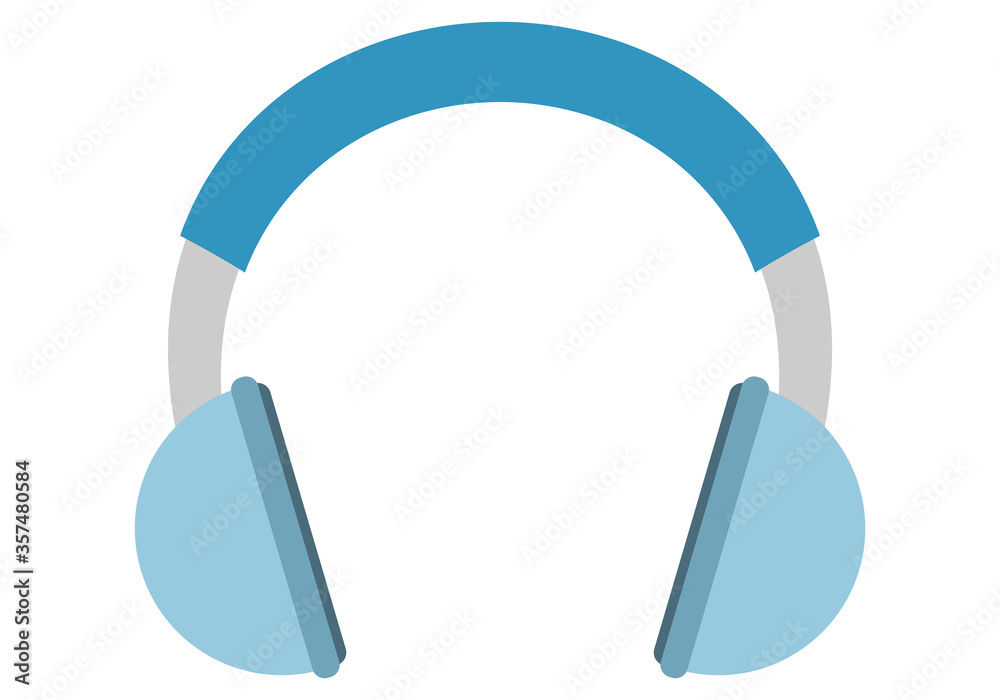 Fototapeta Auriculares de color azul en fondo blanco.