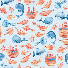 Seamless Pattern, Digital Paper. Watercolor Hand Painted Cartoon Sea Characters. Cute Lovely Fantasy Whales, Sailboat. Perfect For Print, Textile Design, Fabric, Poster, Travel Blog