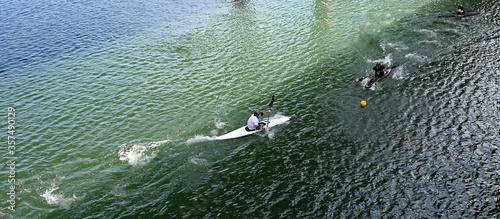 Competition on the lake - amateur sports on Lady Bird lake in downtown Austin, T Canvas Print