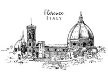 Drawing Sketch Illustration Of Florence, Italy