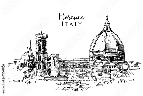Fotografia Drawing sketch illustration of Florence, Italy