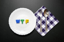 WTF Slogan Letters On Plate Wi...