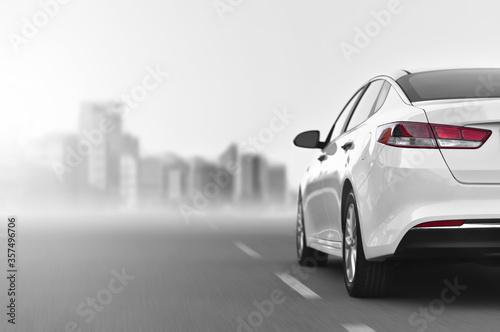 Fotografie, Tablou car driving by motorway at high speed