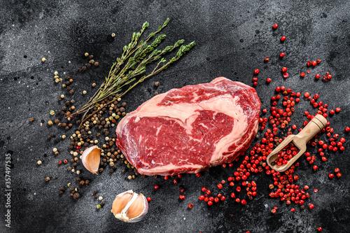 Fotomural Raw fresh meat Ribeye Steak with seasoning