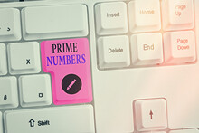 Word Writing Text Prime Numbers. Business Photo Showcasing A Positive Integer Containing Factors Of One And Itself