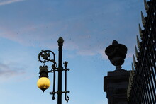 Street Lights Near The Royal Palace In Madrid, Spain.