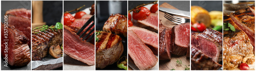 Fototapeta Collage with different photos of delicious grilled meat. Banner design obraz