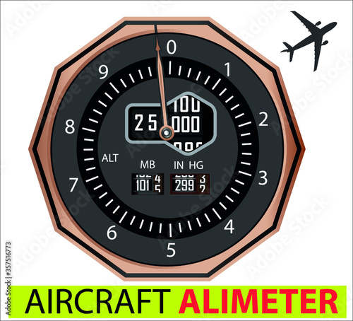 Vector illustration of analogical aircraft altimeter Canvas Print