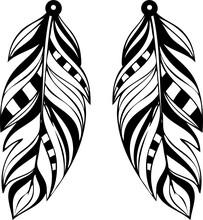 Feather Earrings Svg Vector Cricut Silhouette Cutfile Jewelry Design