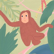 Illustration Of A Monkey Swing...