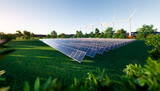 Solar farm or solar power plant consist of solar cell or photovoltaic cell in panel. That is sun business to generate electrical power or direct current electricity by light or sunlight. 3d render.