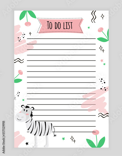Photo Illustration page with rows of to-do list with animal zebra, flower, doodle, sta