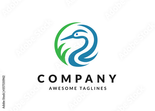 Fotografia, Obraz abstract simple heron or stork circle vector logo illustration