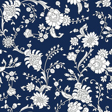 Traditional Indian Paisley Pattern On Navy  Background