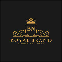 BN Letter Initial Luxurious Br...