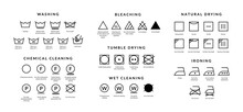 Laundry Care Icons. Machine And Hand Wash Advice Symbols, Fabric Cotton Cloth Type For Garment Labels. Vector Illustrations Symbolism Wash Description