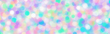 Abstract Holographic Texture Rainbow Banner Holo Bokeh Blank Background